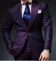Purple Mens Wedding Prom Suits 2 Pieces Groom Tuxedos Two Buttons Dinner Blazer Best Man Groomsman Costumes terno masculino