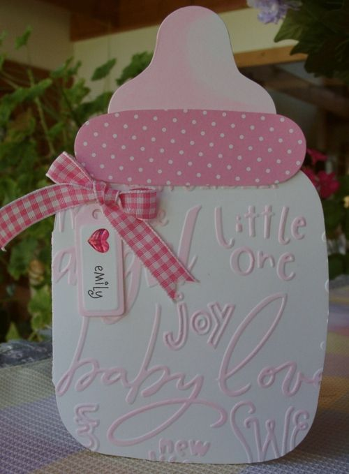 baby card or make smaller to use on baby scrapbook layout - Baby bottle