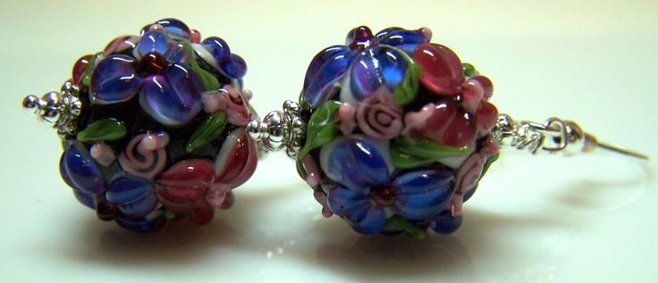 Blue and rose pink large floral lampwork bead dangle earrings by ShelbyAnnDesigns on Etsy