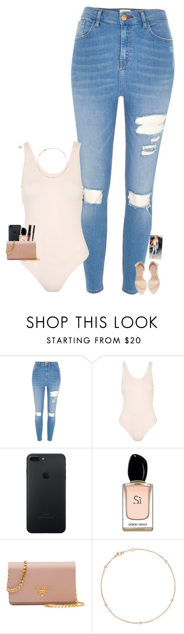 """Tranny hembrow inspired 😻(Kinda)"" by raee590 ❤ liked on Polyvore featuring River Island, Topshop, Armani Beauty and Prada"