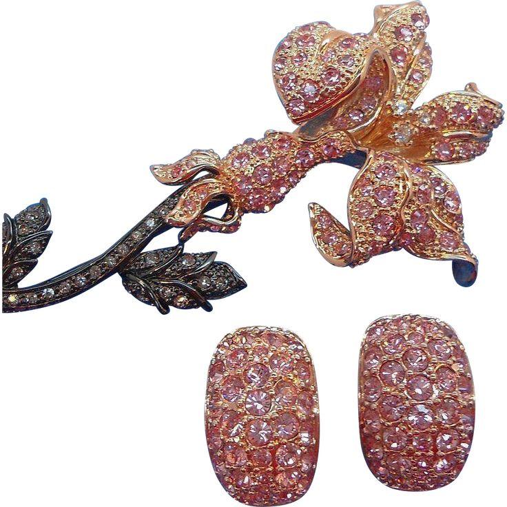 Vintage Dimensional Pink Rhinestone Flower Brooch Set Nolan Millerfound at www.rubylane.com #vintagebeginshere