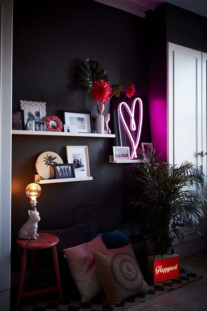 Pin By Andrea Ontiveros On Extraordinary Interiors Summer Home Decor Black Walls Bedroom Decor #neon #lights #for #living #room