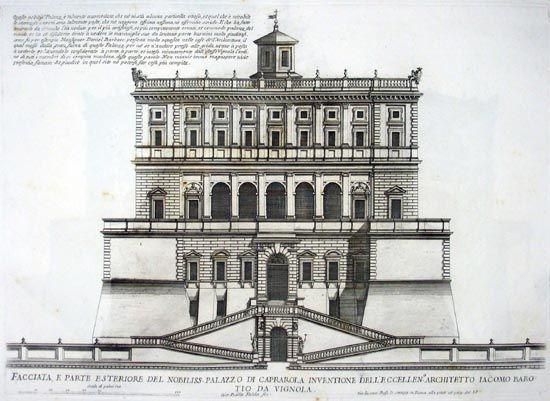 Giovanni Battista Falda, Façade of the noble palace of Caprarola..., ca. 1655