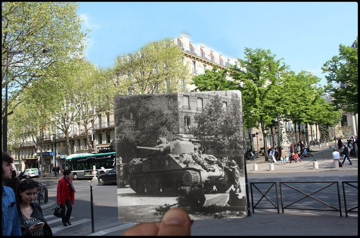 A tank from the 2nd Armoured Division of General Leclerc rolls down Boulevard Saint-Michel, near the Sorbonne.   The Liberation Of Paris, Then And Now: 24 Haunting Images That Blend The Past And Present