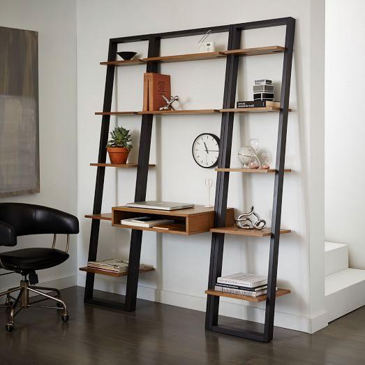 Ladder Shelf Desk + Narrow Bookshelf Set | west elm