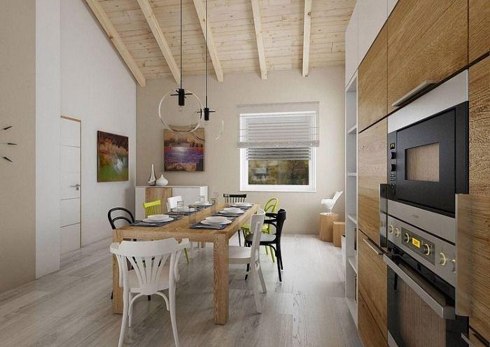 moderne Wohnküche mit Essbereich gestaltet im skandinavischen Stil-weiße Holzfronten der Küchenschränke
