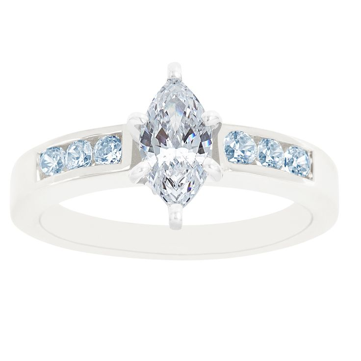 New York City Diamond District 14K White Gold Marquise Certified Diamond Engagement Ring, Size: 8.5;7;7.5;9;4.5;5.5;9.5;6.5;8;10;4;5;6