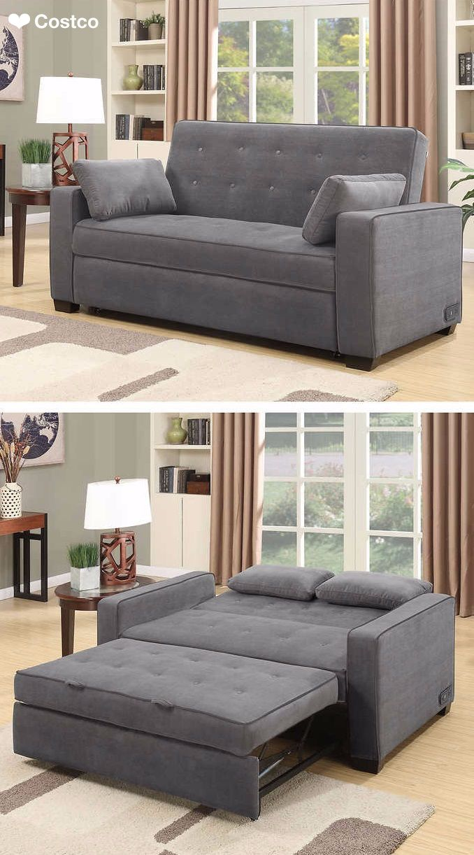 Couch With Bed In It The Westport Fabric Sleeper Sofa In Charcoal Gray Is Sure To Be A