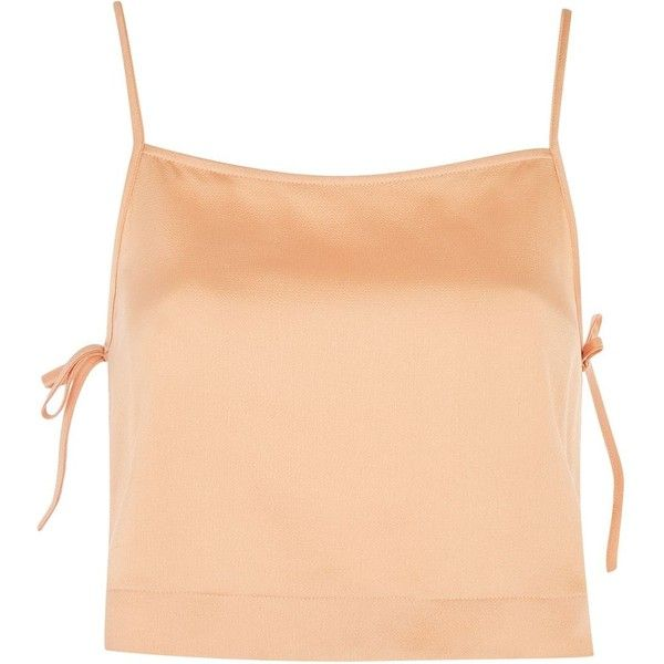 TopShop Tie Side Crop Camisole Top (27 NZD) ❤ liked on Polyvore featuring tops, crop top, tank tops, clothes - tops, crop, apricot, cami tank, cami tank top, camisole tank top and red cami
