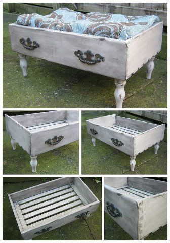 dog bed out of an old drawer... just add legs Find Everything you need to re-create these looks at Sleepy Poet Antique Mall!