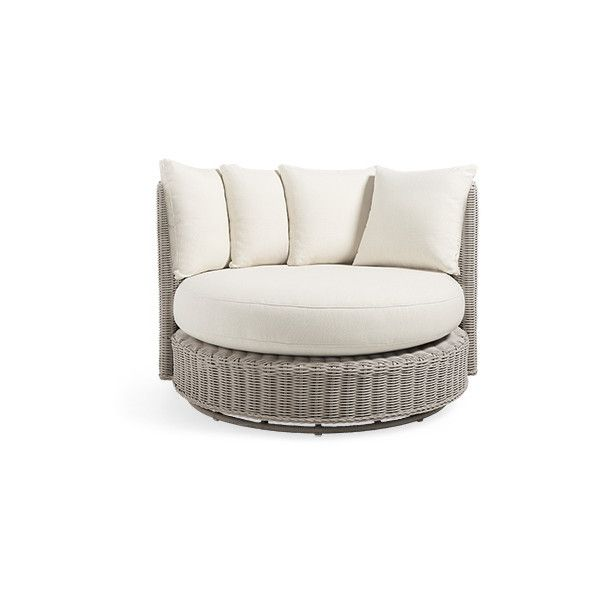 """Wyatt Outdoor 59"""" Swivel Daybed in Weathered Grey and Sail Sailor (62 060 UAH) ❤ liked on Polyvore featuring home, outdoors, patio furniture, outdoor loungers & day beds, all weather patio furniture, grey patio furniture, outdoor garden furniture, outdoor furniture and grey daybed"""