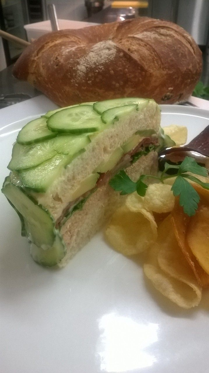 7 Creeks on Fryers, Tuna salad, Avocado and  with cucumber, tomato sandwich cake