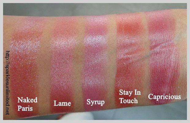 MAC Lipstick Swatches, MAC Naked Paris Lipstick, MAC Lame Lipstick, MAC Syrup Lipstick, MAC Stay In Touch Lipstick, MAC Capricious Lipstick