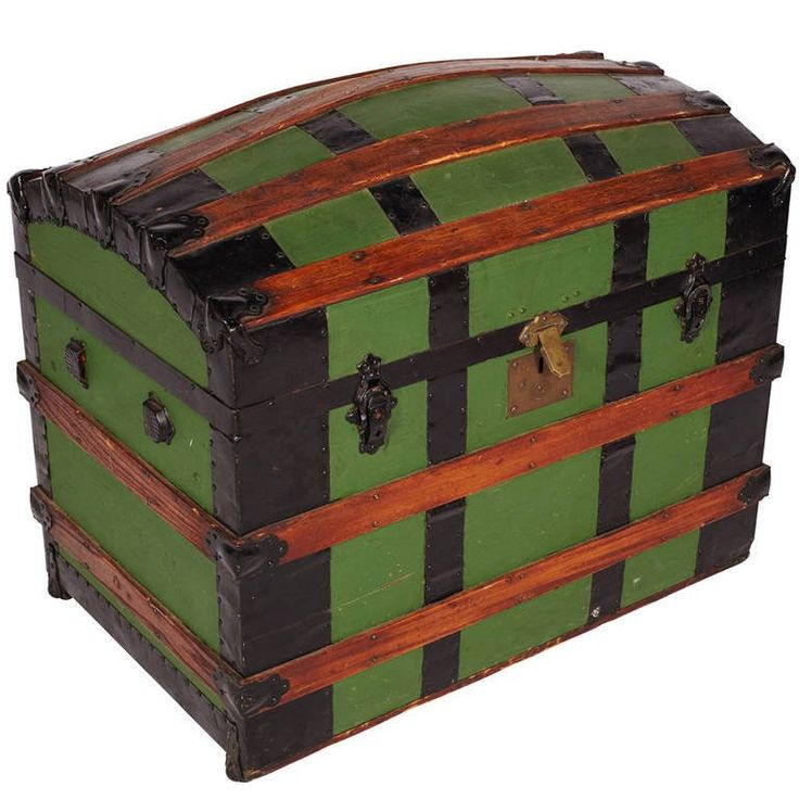 Antique Green Dome Carriage Trunk | From a unique collection of antique and modern home accents at https://www.1stdibs.com/furniture/more-furniture-collectibles/home-accents/