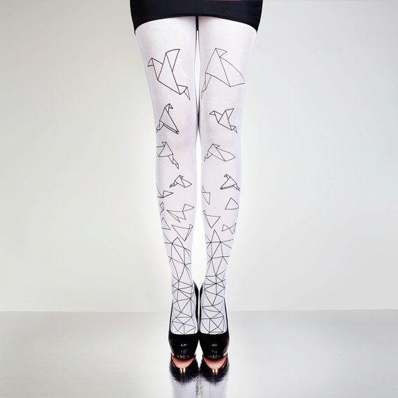 Collants ORIGAMI oiseaux blanc - main imprimée, grande conception, creative patterns