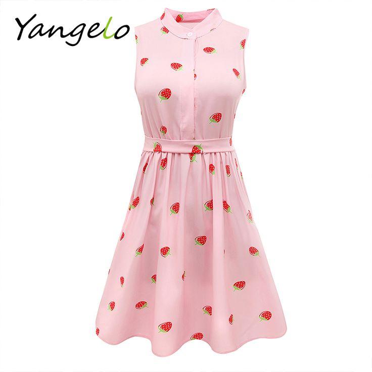 Japanese Mori Girl Strawberry Print Sleeveless Dress Kawaii Lolita Sweet Pink High Waist A Line Mini Dresses 2016 Summer New //Price: $16.95 & FREE Shipping //     #hashtag1