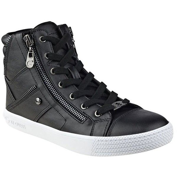 G By Guess Womens Maker Leather Hight Top Lace Up Fashion Sneaker ($31) ❤ liked on Polyvore featuring shoes, sneakers, black, lace up sneakers, black trainers, sexy shoes, g by guess sneakers and leather lace up sneakers