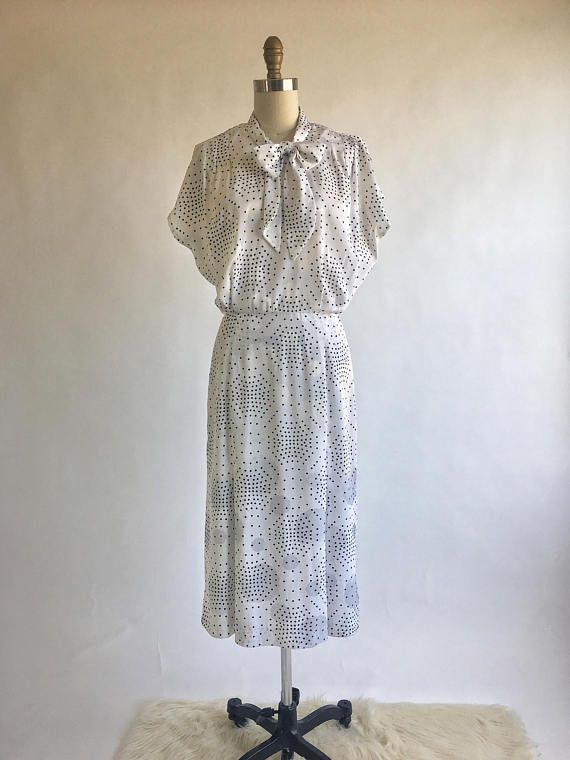 Vintage 1930s Style White Silky Polka Dot Pussy Bow Dress
