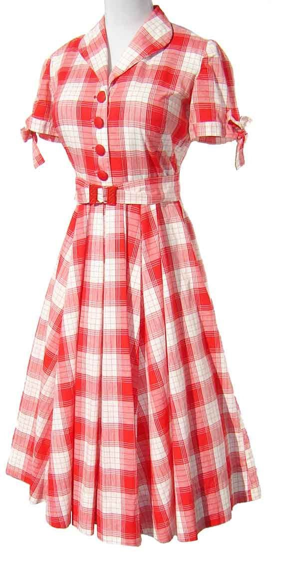 Vintage '50s Dress Red & White Cotton Plaid - I must say, the 50's had some lovely clothes. <3 - short black and white dresses, plus size dresses for women, navy blue and red dress *sponsored https://www.pinterest.com/dresses_dress/ https://www.pinterest.com/explore/dress/ https://www.pinterest.com/dresses_dress/prom-dresses/ http://www.bcbg.com/en/view-all-dresses/