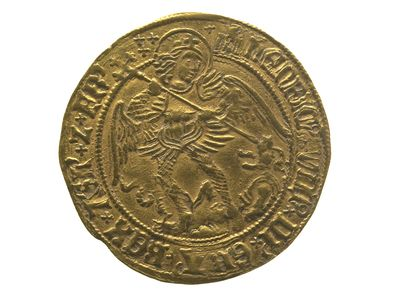 This Tudor gold coin was found by archaeologists on the site of the hospital of St Mary Spital in Spitalfields. It is called an 'angel' coin because the archangel St Michael is shown on one side. The King gave out gold coins like this during a special ceremony where he touched people who were suffering from scrofula. Scrofula is a disease which causes swellings and sores on people's necks. People believed the king's touch and the coins were a cure for the disease.