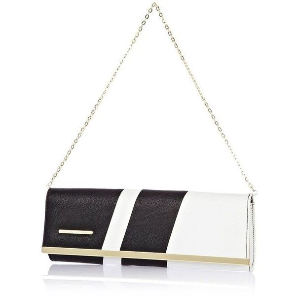 River Island White asymmetric clutch bag (29 CAD) ❤ liked on Polyvore featuring bags, handbags, clutches, river island, chain handle handbags, white clutches, river island handbags and zipper purse