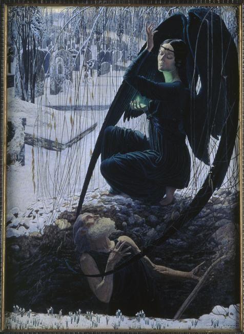Schwabe Carlos (1866-1926) - La mort et le fossoyeur - Aquarelle - 1900