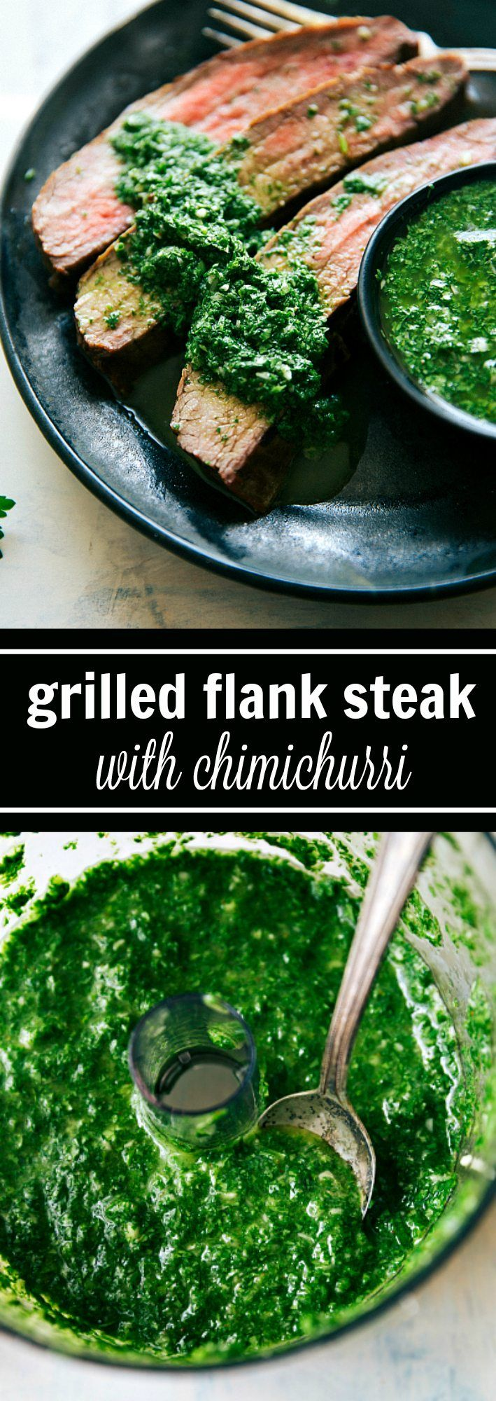 Grilled Flank Steak with Easy Cilantro Chimichurri