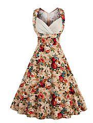 Dame+Vintage+Gade+I-byen-tøj+Afslappet/Hverdag+A-linje+Kjole+Blomstret,Kæreste+Knælang+Uden+ærmer+Flerfarvet+Bomuld+Sommer+Alm.+taljede+–+DKK+kr.+924