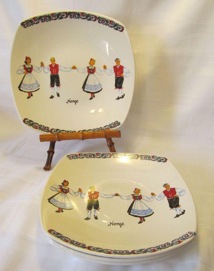 Figgjo Flint Norway Pottery Vintage HARDANGER DANCERS Four(4) Dinner Plates