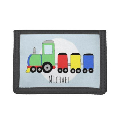 boy s colorful doodle locomotive train with name trifold wallet
