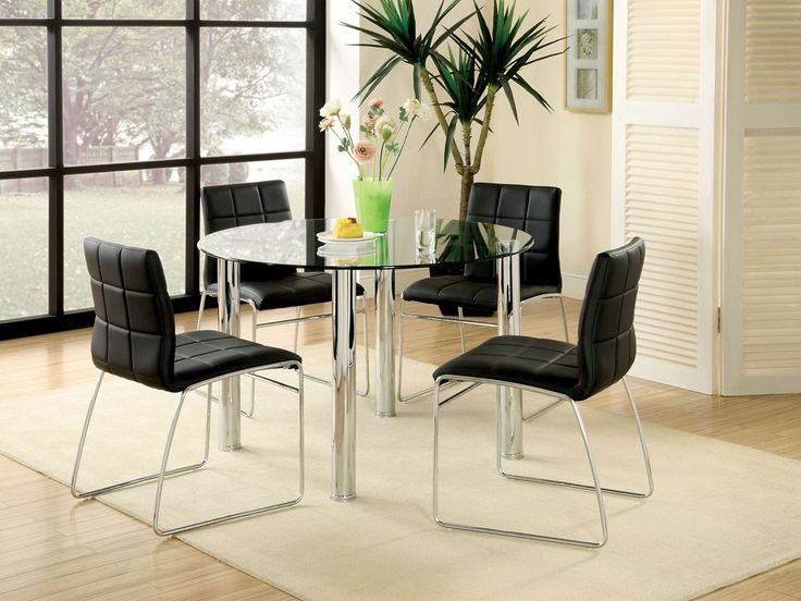 Kona Glass Dining Table Set With Chrome Finish Legs And Top Create A Sharp Looking Framework For The Padded Accent Chairs Of This