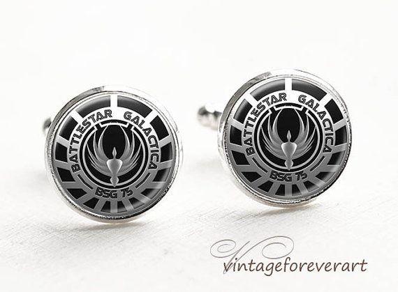 Battlestar Galactica Cufflinks, Sci-fi Jewelry, Gamer Jewelry, Battlestar Galactica cuff links, accessories for man, Gifts for Him