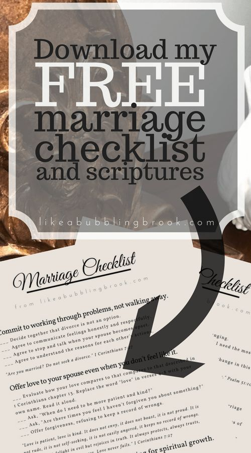 Marriage Bible Study Checklist - Checklist and Printable PDF with Bible verses. Every Christian marriage needs this! Great discussion prompts to do with your spouse!
