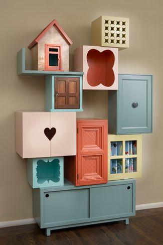 Kijk dit nou! #boekenkast #Bookcase/doll house via donutchocula.blogspot tja end an met wat meer volwassen kleurtjes!