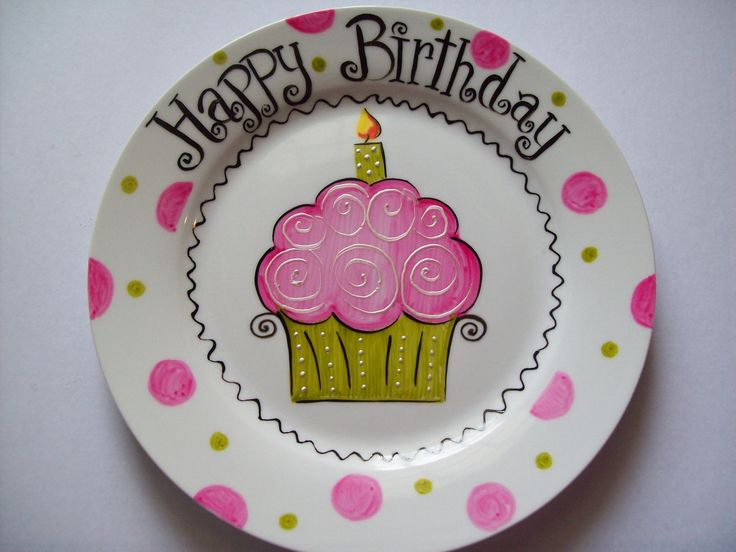 #Hand #painted - Personalized cupcake birthday plate. http://www.mycraftkingdom.com
