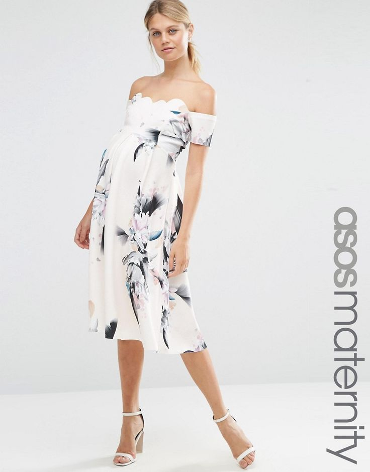 Image 1 of ASOS Maternity Scalloped Bardot Midi Dress In Spaced Floral