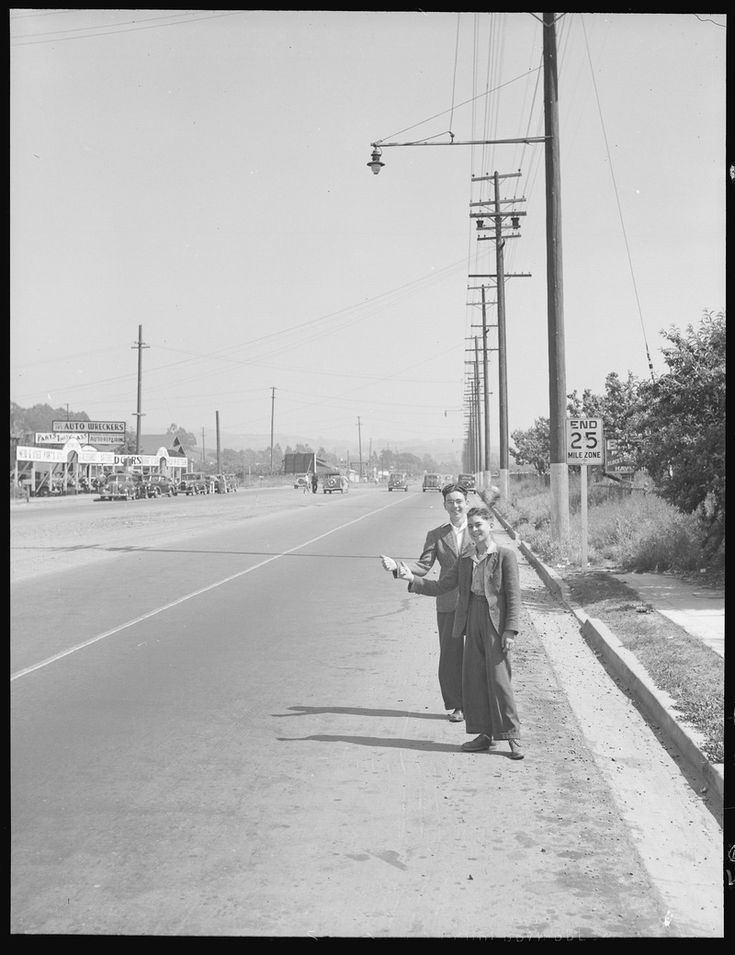 San Leandro, California. Hitch-Hiking. High school boys thumbing for a local ride to visit friends on a Saturday - NARA - 532091 - San Leandro, California - Wikipedia, the free encyclopedia