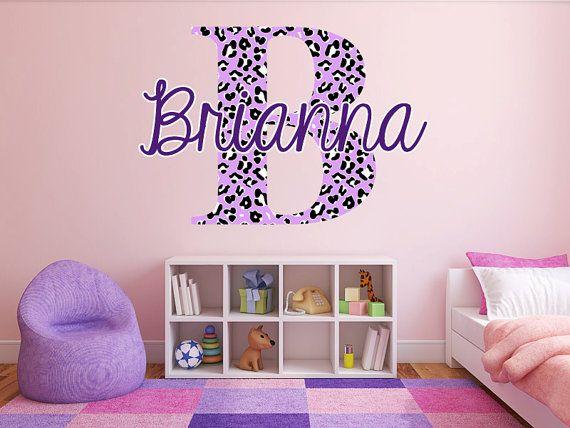 Custom Color Cheetah Monogram Name Girls Room Vinyl by StickerHog