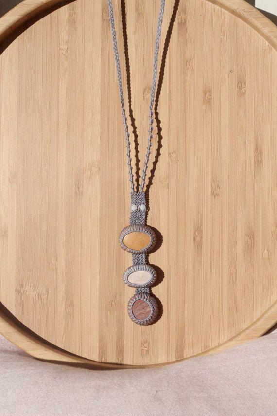 Light lilac long pebble necklace / pendant / summer necklace