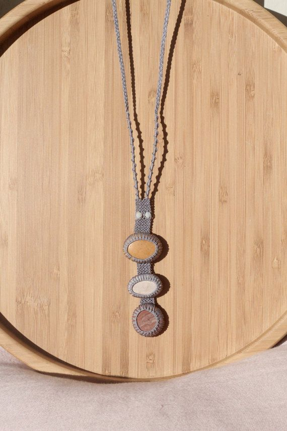 Light lilac long pebble necklace / pendant / summer necklace