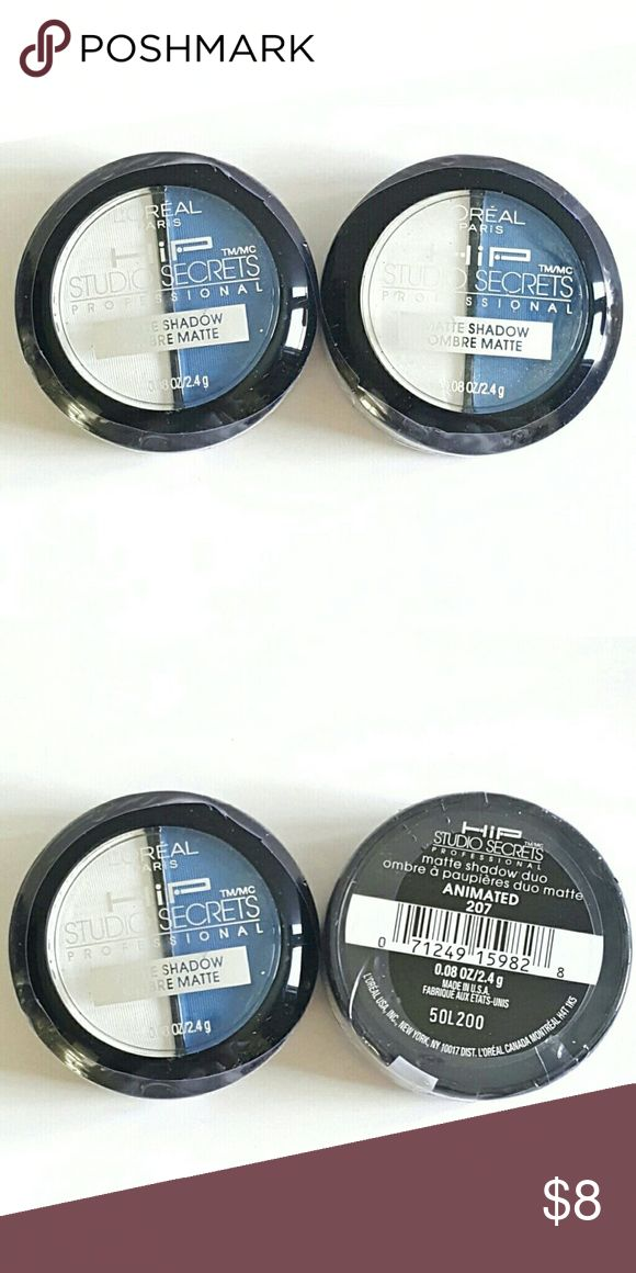 2x L'Oreal HiP Matte Eyeshadow Duo Pack of 2 L'Oreal Studio Secrets HiP Matte Eye Shadow Duo in ANIMATED #207 - Brand New & Sealed L'Oreal  Makeup Eyeshadow
