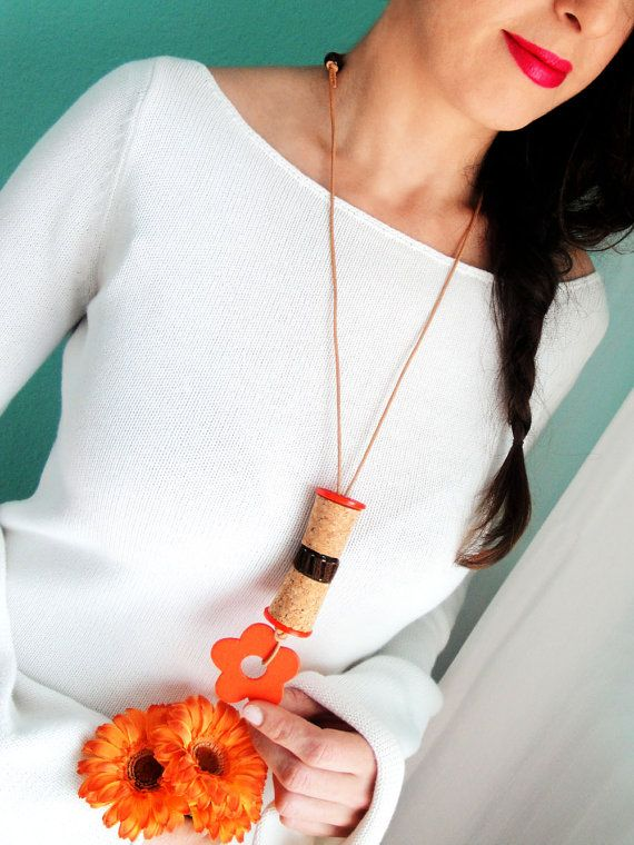 Check out this item in my Etsy shop https://www.etsy.com/listing/222815154/orange-necklace-long-necklace-wine-cork
