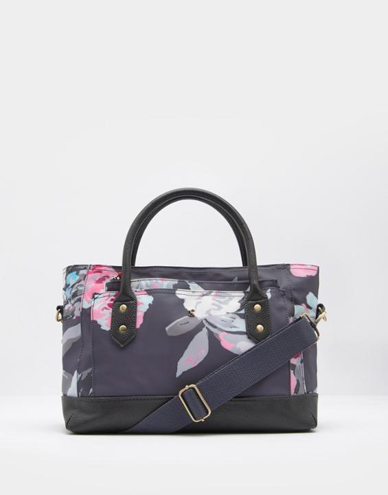 Joules UK EVERYDAY CANVAS Women Printed Tote Bag Grey Bloom