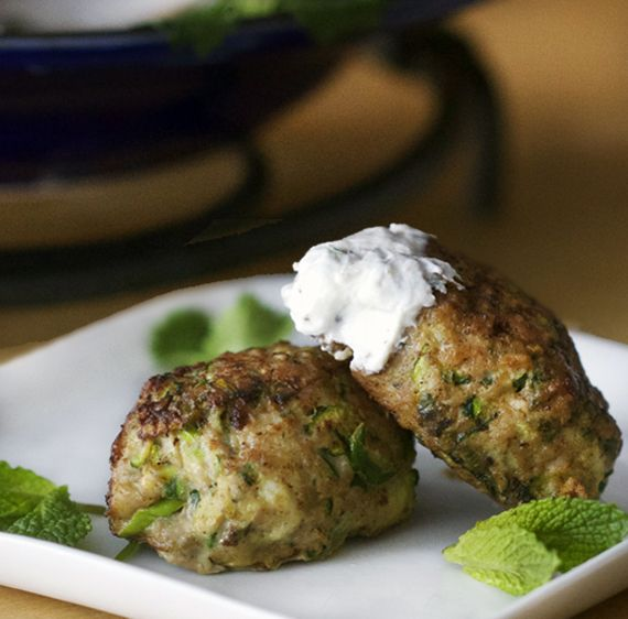 Turkey Zucchini Meatballs with Lemony Yogurt Sauce - delicious as an appetizer!  These are made with turkey and vegetables - no bread! #GlutenFree #Ottolenghi
