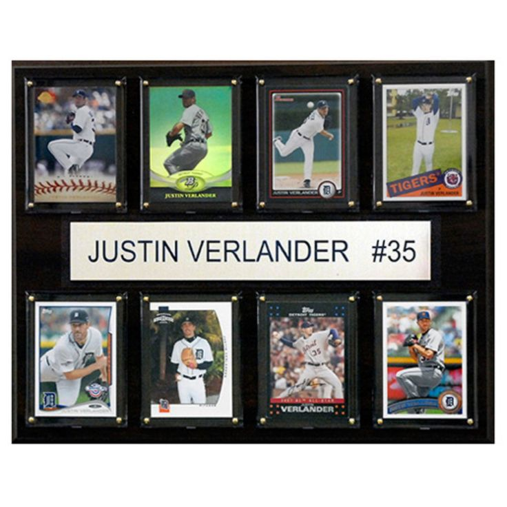 C and I Collectables MLB 15W x 12H in. Justin Verlander Detroit Tigers 8 Card Plaque - 1215VERLANE8C