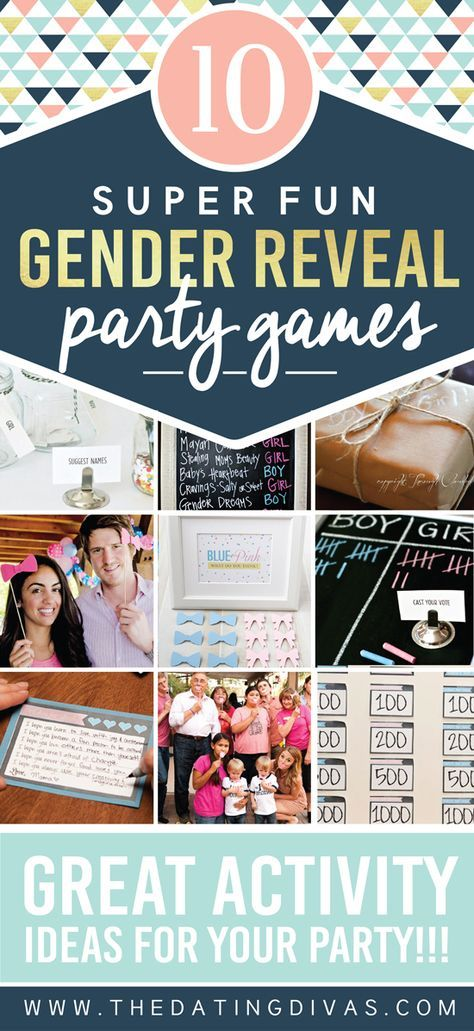 10 Super Fun Gender Reveal Games and Activity Ideas!  THE ULTIMATE LIST OF BABY GENDER REVEAL IDEAS