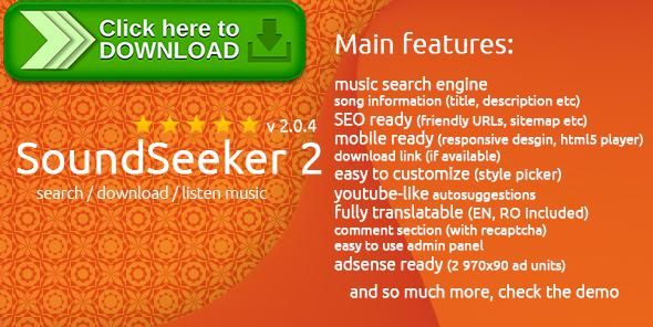[ThemeForest]Free nulled download SoundSeeker 2 - Music Search Engine from http://zippyfile.download/f.php?id=54399 Tags: ecommerce, download, download music, engine, listen music, mp3, music, Music Database, music download, Music Search Engine, search, sound, sound search engine, soundcloud
