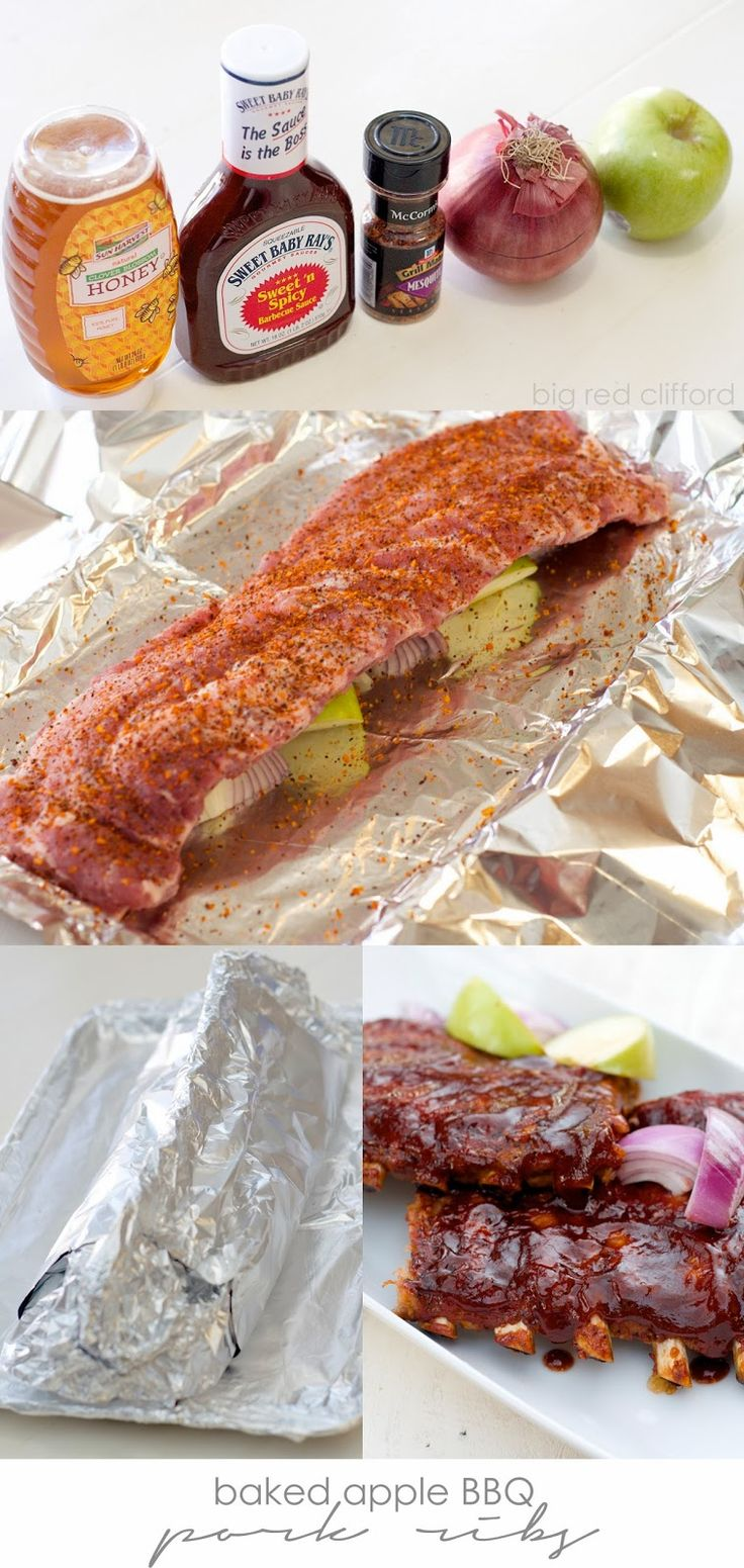 Baked Apple BBQ Pork Ribs. fall off the bone and the perfect spicy to sweet for #manmonday | http://bigredclifford.com