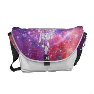 Galaxy Nebula Glitter dreamcatcher Pink Space Courier Bag