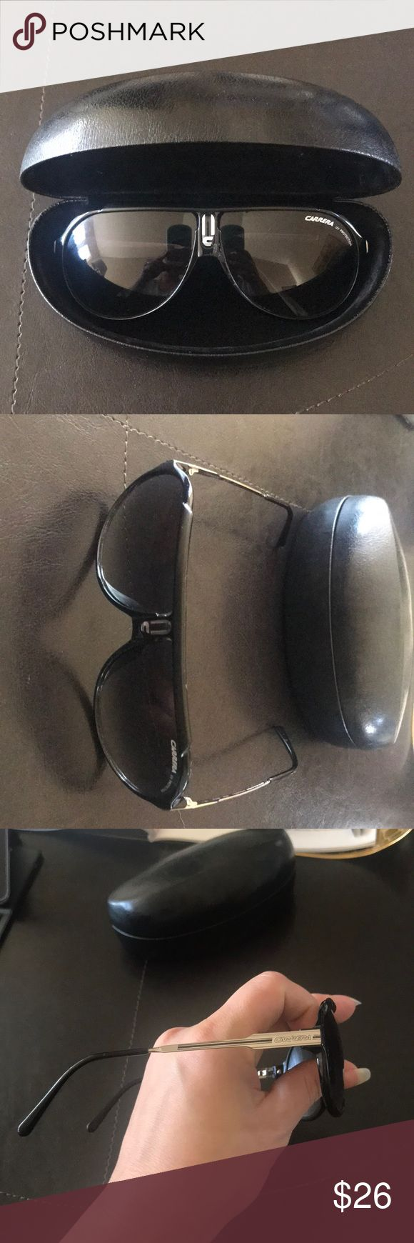 Authentic Carrera UV protection sunglasses Used condition. Still good. Very even symmetrical frames. Only flaw is pictured in last pic. Authentic Carrera glasses with UV protection. Comes with generic black case. Carrera Accessories Glasses